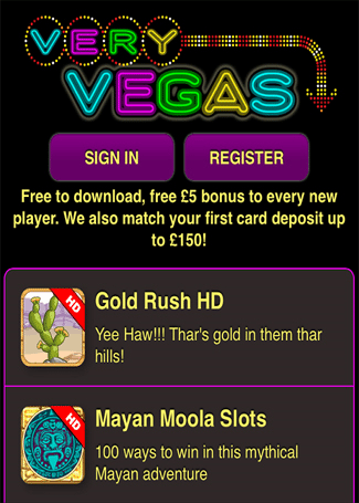 Popular Mobile Slots Games at very vegas Mobile Casino