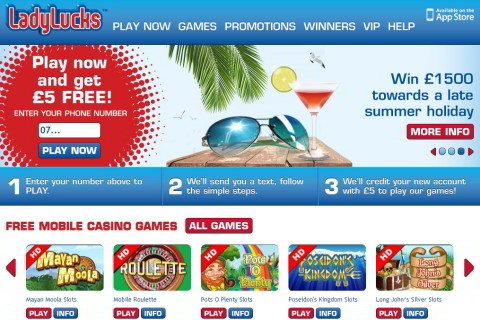 Get Casino Pay By Phone Bill SMS | LadyLucks £20 FREE