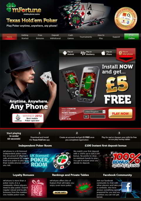 mobile online poker phone bill bonus sms